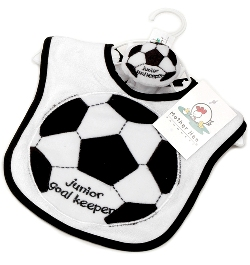 Mother Hen Soccer bib & wrist rattle