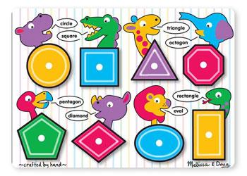 Melissa & Doug - Wooden Shapes Peg Puzzle