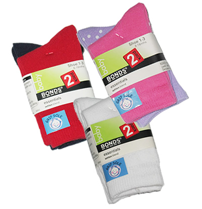 Bonds Grip Sole Socks 2 pairs (age 18m+)