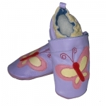 Purple Butterfly soft sole leather baby shoe