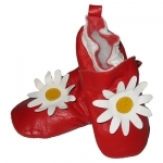 Red Flower soft sole leather baby shoe